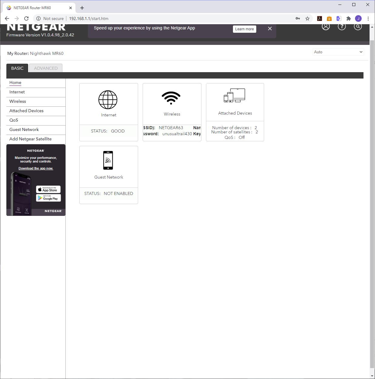 Accueil interface web Netgear mesh nighthawk